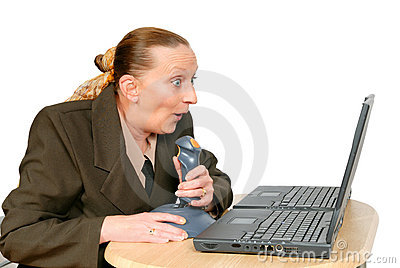Businesswoman shooting online Stock Photo