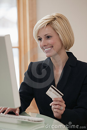 Businesswoman shopping on line