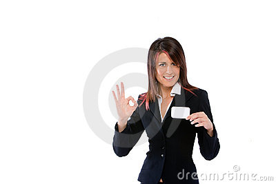 Businesswoman shoving a card with ok