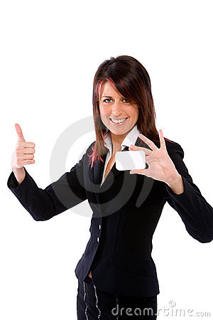 Businesswoman shoving a card with thumbs up