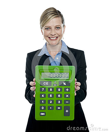 Businesswoman showing big green calculator