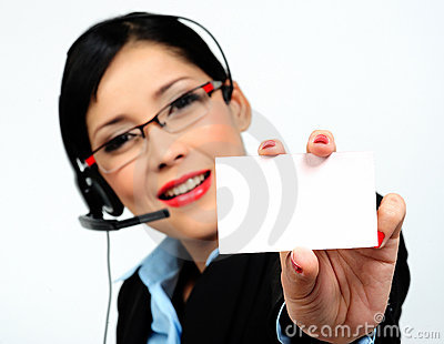 Businesswoman showing a business card (focus on th