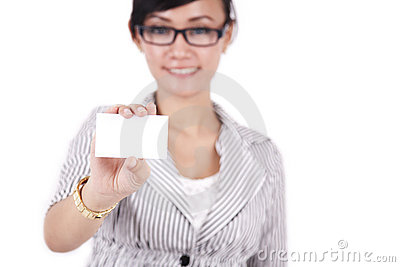 Businesswoman showing businesscard