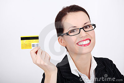 Businesswoman showing credit card.