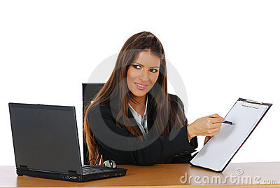 Businesswoman showing results report