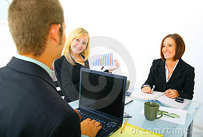 Businesswoman Showing Sales Chart