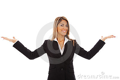 Businesswoman showing something