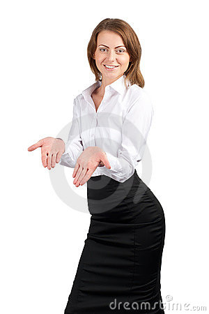 Businesswoman showing something on her palms