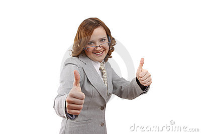 Businesswoman showing thumbs up. OK