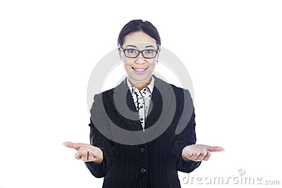 Businesswoman showing two options