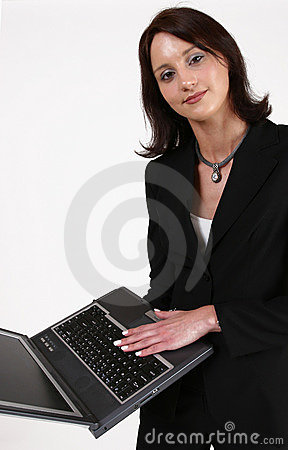 Businesswoman showing you her computer