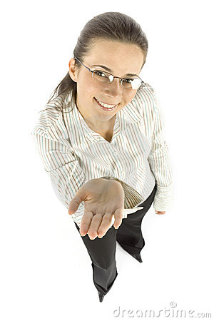 Businesswoman shows hand