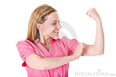 Businesswoman shows strength and power,isolated