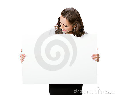 Businesswoman with signboard, on whit