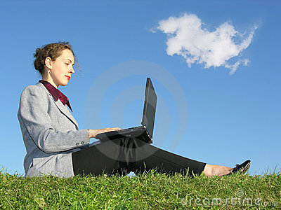 Businesswoman sit with notebook