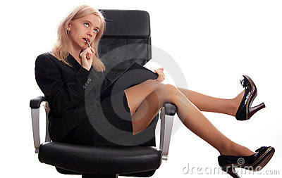 Businesswoman sits on a chair with the handle