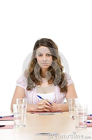 Businesswoman sitting in boardroom