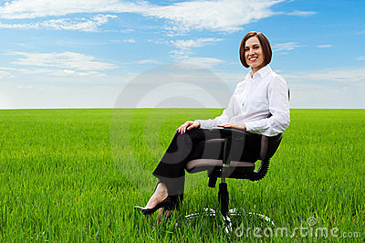 Businesswoman sitting on chair