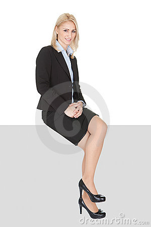 Businesswoman sitting on copyspace