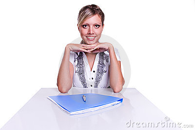 Businesswoman sitting with documents