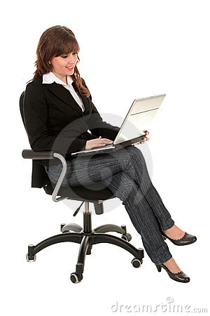 Free Businesswoman Sitting In Office Chair With Laptop Royalty Free Stock Photography - 4611107