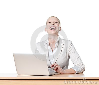 Businesswoman sitting at office table