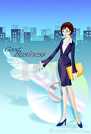 Businesswoman and skyline