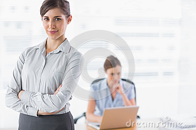 Businesswoman smiling at camera