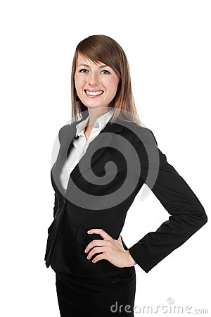 Businesswoman smiling. Isolated on white