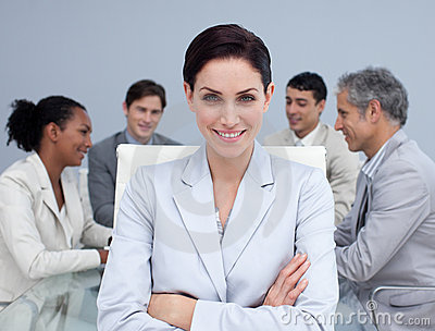 Businesswoman Smiling in a meeting