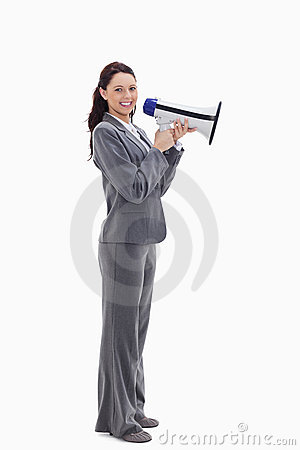 A businesswoman smiling with a megaphone
