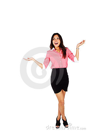 Businesswoman smiling with surprise.