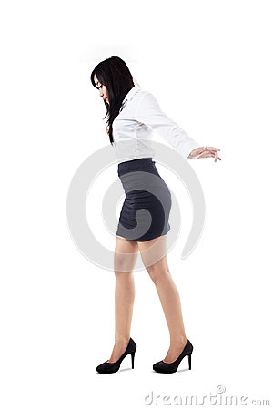 Businesswoman stand on copyspace