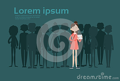 Businesswoman Stand Out From Crowd, Spotlight Hire Mix Race Human Resource Recruitment Candidate People Group Business Vector Illustration