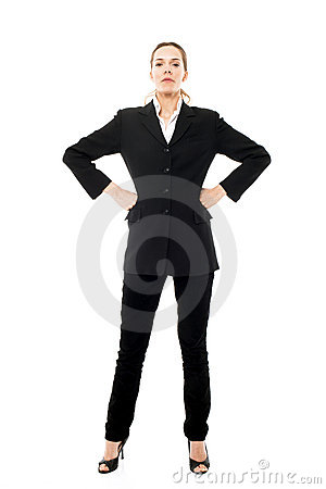 Businesswoman standing with arms
