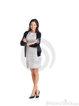 Businesswoman standing with hands folded
