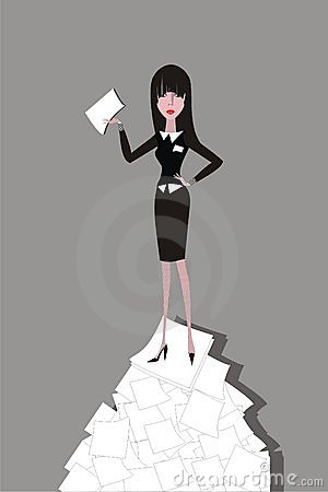 Businesswoman standing on the heap of paper