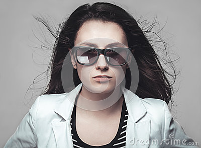 Businesswoman staring through sunglasses