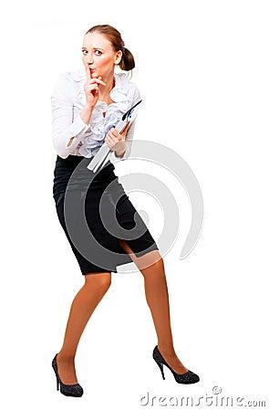 Businesswoman stole the secret files.