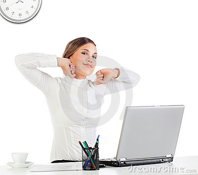 Businesswoman stretching her hands