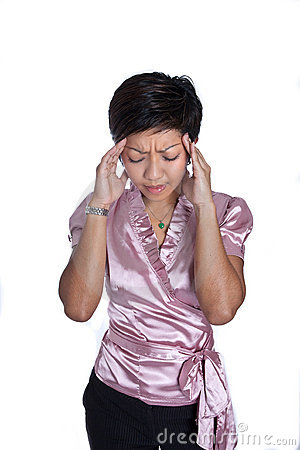 Businesswoman suffering severe headache, isolated