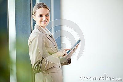 Businesswoman tablet computer
