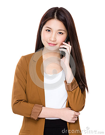 Free Businesswoman Talk To Phone Stock Photography - 48457362