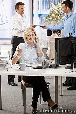 Businesswoman talking on mobile