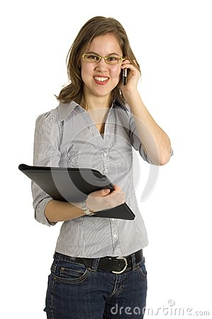 Businesswoman talking into a mobile phone