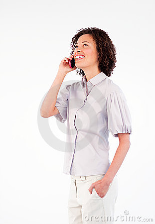 Businesswoman talking on phone looking upwards