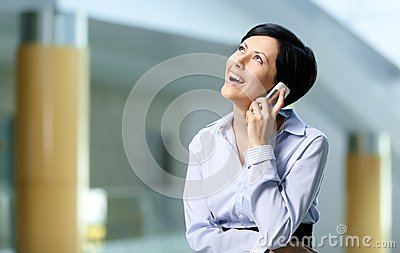 Businesswoman talks on cellphone