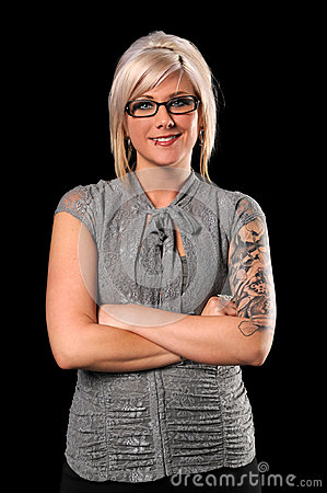 Businesswoman With Tattoos and Piercing