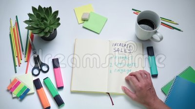 Businesswoman thinking how to increase sales stock footage