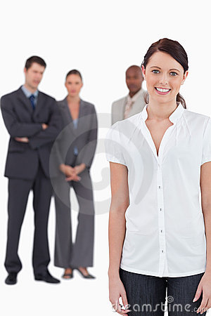 Businesswoman with three co-workers